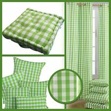 Block Check Green Eyelet Curtains Pair & Filled Cushions Covers Large Small