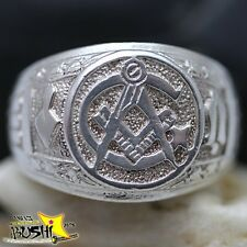 925 Sterling Silver Antique Masonic Ring Master Freemason Square and Compass!!!!