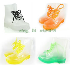 Women's NEW Rubber Jelly Transparent Crystal Rainboots FLAT Ankle Boots US 5-8.5