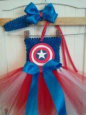 CAPTAIN AMERICA SUPERHERO BIRTHDAY  TUTU dress costume party halloween 0-24 mos