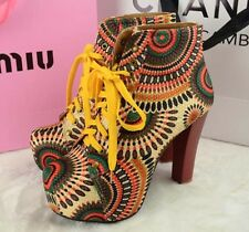 Sexy Sweety Women Lita platforms Punk high heels boots Lace Up Ankle shoes #906