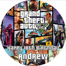 "Grand Theft Auto 5 GTA 5 7.5"" ROUND Cake Topper Rice Paper/Icing 24HR POST GTA V"