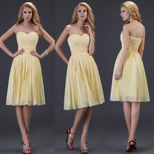 Lady's Sweet Chiffon Evening Party Promgown Formal Bridesmaid Yellow Short Dress