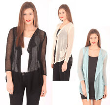 AJOY LIGHT OPEN KNIT CARDIGAN WITH WATERFALL FRONT. BEIGE.