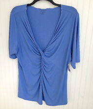 KATE HILL PRETTY AKRIS BLUE KNIT TOP NWTS PLUS SIZES SPA SEPARATES