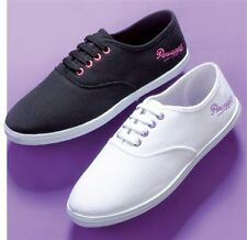 Ladies 'Flame 2' Canvas Plimsoll By Pineapple Black/Pink