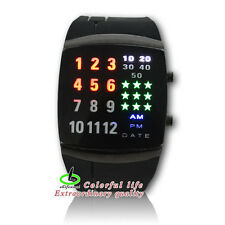 GEL Rubber Star Military Sport LED Binary Digital Wrist Watches For Men Women