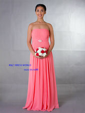 Strapless Coral Chiffon Evening Ball Gown Party Prom Bridesmaid Dress Lace back