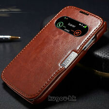 Genuine Leather Smart WakeUp Sleep View Cover Case For SAMSUNG GALAXY S4 i9500
