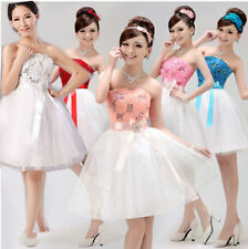1 Beaded Bridesmaid Cocktail Prom Short Mini Ruffle Party Formal Evening Dresses