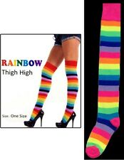 1Pair or Wholesale 6Pairs Thigh High Leg Warmers For Women Neon Rainbow EHS6753A