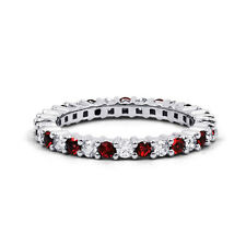 18ct White Gold Ruby and White Diamond Full Eternity Band 0.45ct 2.3mm