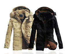 New Men's Fashion Fleece Faux Fur Winter Coat Hoodies Parka Overcoat Jacket