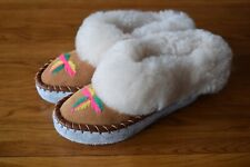 Womens Ladies Natural Leather Sheepskin Slipper Moccasins All Size Unbranded