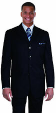 100% wool super 100's 4 button 33' Length Basic navy suit  902W