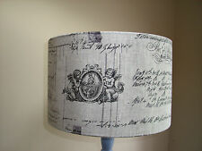 shabby chic vintage script French designer linen fabric Lamp and ceiling shades