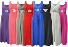 New Womens Plus Size Buckle Waisted Tie Back Evening Long Ladies Maxi Dress16-26