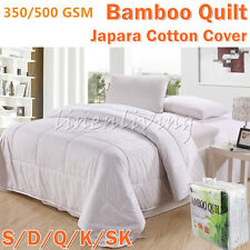 350 or 500GSM All Season 100% Bamboo Quilt Doona Cotton Cover Machine Washable