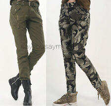 Womens Camo Military Army Cargo Pencil Pants Skinny Jeans Leisure Trousers #792
