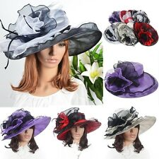 Women Formal Derby Church Wedding Organza Hat Large Wide Brim Hat