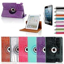 360 Rotating Crocodile Smart Cover PU Leather Case For Apple iPad 2 3 4 & Mini