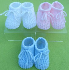 baby bootees gorgeous soft knitted shoes with ties pink, blue or white newborn