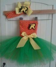 SUPER HERO ROBIN BIRTHDAY  TUTU dress costume party halloween 0-24 mos