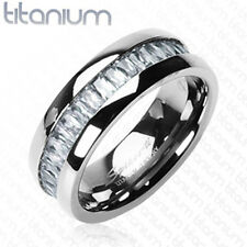 Men's solid titanium ring W/ Square Infinity clear C.Z. Stone wedding band ring