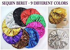Stretch Shimmer Sparkly Shining Sequin Beret Hat - Sequin Beanie Cap *US SELLER*