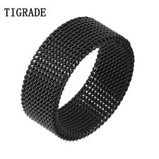 7mm Unique Black Silver Flat Mesh Flexible 316L Stainless Steel Ring Men Women