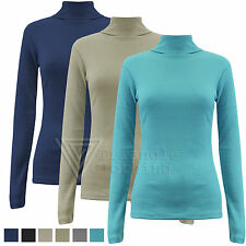 Ladies Womens Ribbed Polo Neck Jumper Long Sleeve Top Stretch Fitted Bodycon