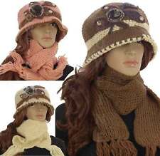 Ladies Diamante Leaf Flower Fur Knitted Fleece Cloche Hat and Scarf Set Gift UK