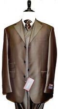 Men's Extrema Zanetti Suit. Brown tone on tone 3pc SUPER 120's Fine Fabric.