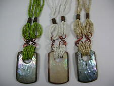 Rectangular Shell Pieces Wooden inlay Pendant multi strand bead necklace