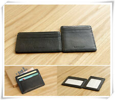 High Guality Black Slim Real Leather Bank Card Oyster Card ID Holder Window