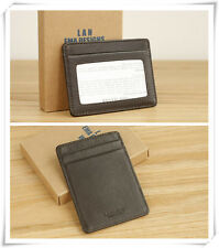 Luxuly Brown 100% Real Leather Bank Card Oyster Card ID Holder Case Window Mans