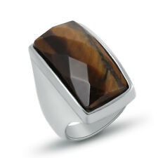 316L Stainless Steel Men Silver Coffee Natural Stone Band Ring D066 Size 6 7 8 9
