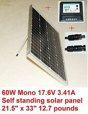 60 Watt self standing solar panel with 15 amp charge controller and 1 pair MC4