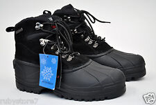 Kingshow Men's Black Winter Snow Leather Boots Shoes Waterproof Wide 1280-2