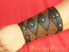 Medieval Warrior Viking Gladiator 2 Tones Leather Small Cuff BracerS -A Pair-