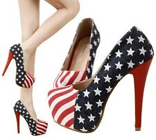 American Flag Style Womens Platform Pumps Stiletto High Heels Lady Party Shoes