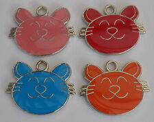 Engraved Pet ID Tags CAT Face 25mm Disc Engraved Deep Free By Computer Free Post