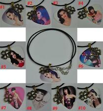 Katy Perry Guitar Pick Necklace , Metal Four-leaf Clover Lucky Leather Cord