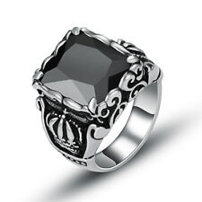 Mens Silver 316L Stainless Steel Black CZ Crown Ring Jewelry D155 Size 8 9 10 11