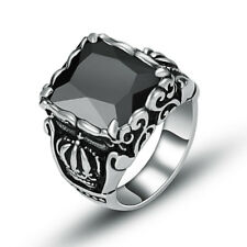 316L Stainless Steel Men's Fashion Black CZ Zircon Crown Ring Jewelry Size 8-11