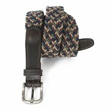 3035-MULTI - Men's Casual Golf Braided Elastic Leather Stretch Belt - Multicolor