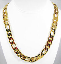 MENS 12MM 14K GOLD FINISH PREMIUM QUALITY FIGARO LINK CHAIN NECKLACE