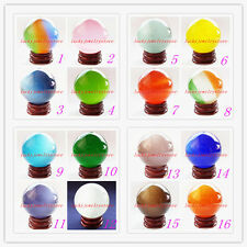 YHQ-39 Beautiful Mixed Color Cat's Eye Crystal Ball Orb Sphere 40mm