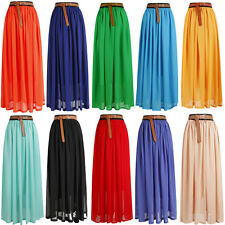 Latest Maxi Skirt Ladies Chiffon Gypsy Plain Long Maxi Dress Skirt 8 To14-L2