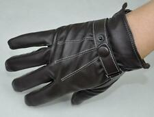 Men's Fashion PU Leather Winter Wrist Gloves Driving Gloves 3 Lines Brown